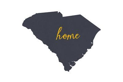 South Carolina - Home State - Gray on White-Lantern Press-Art Print