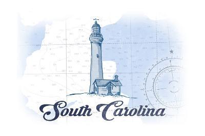 South Carolina - Lighthouse - Blue - Coastal Icon-Lantern Press-Art Print