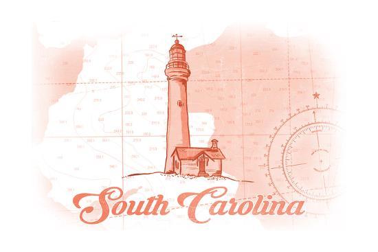 South Carolina - Lighthouse - Coral - Coastal Icon-Lantern Press-Art Print
