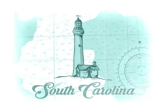 South Carolina - Lighthouse - Teal - Coastal Icon-Lantern Press-Art Print