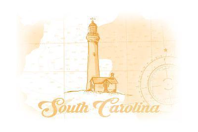 South Carolina - Lighthouse - Yellow - Coastal Icon-Lantern Press-Art Print