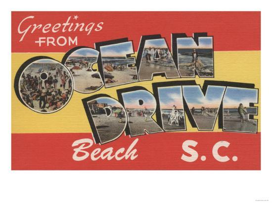 South Carolina - Ocean Drive Beach-Lantern Press-Art Print
