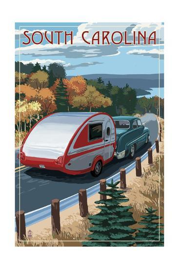 South Carolina - Retro Camper on Road-Lantern Press-Art Print