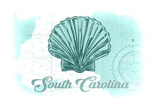 South Carolina - Scallop Shell - Teal - Coastal Icon-Lantern Press-Art Print