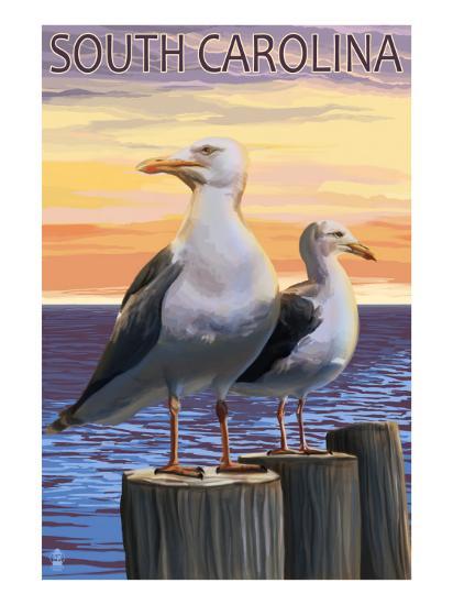 South Carolina - Sea Gulls-Lantern Press-Art Print