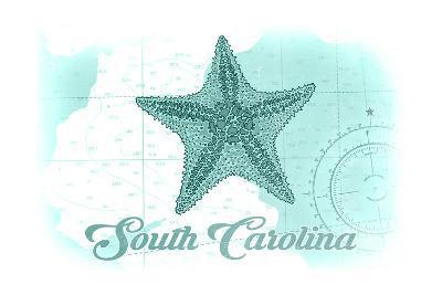 South Carolina - Starfish - Teal - Coastal Icon-Lantern Press-Art Print