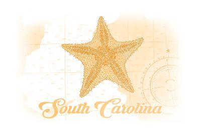 South Carolina - Starfish - Yellow - Coastal Icon-Lantern Press-Art Print