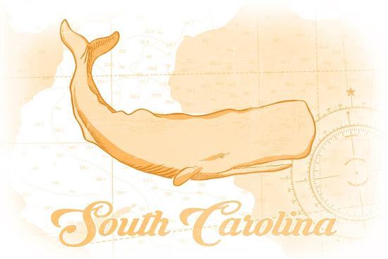 South Carolina - Whale - Yellow - Coastal Icon-Lantern Press-Art Print