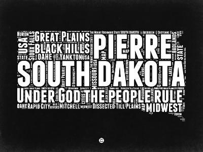 South Dakota Black and White Map-NaxArt-Art Print
