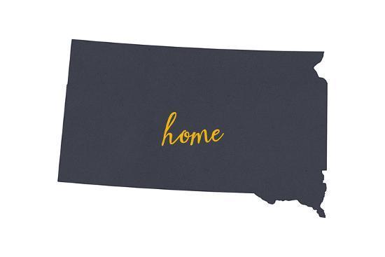 South Dakota - Home State - Gray on White-Lantern Press-Art Print
