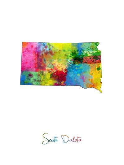 South Dakota Map-Michael Tompsett-Art Print