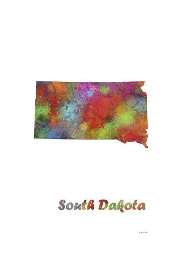 South Dakota State Map 1-Marlene Watson-Giclee Print