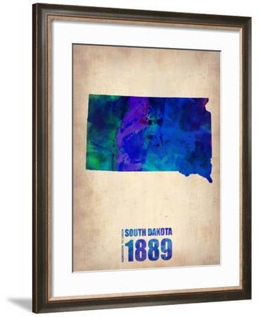 South Dakota Watercolor Map-NaxArt-Framed Art Print