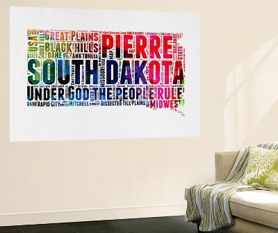 South Dakota Watercolor Word Cloud-NaxArt-Wall Mural