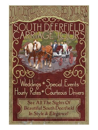 South Deerfield, Massachusetts - Carriage Tours-Lantern Press-Art Print