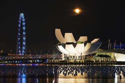 South East Asia, Singapore, Art Science Museum and Full Moon-Christian Kober-Photographic Print