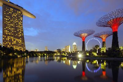 South East Asia, Singapore, South East Asia, Singapore, Gardens by the Bay and Marina Bay Sands-Christian Kober-Photographic Print