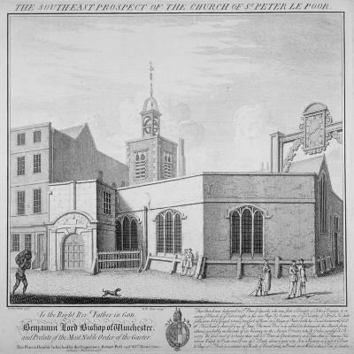 South-East Prospect of the Church of St Peter-Le-Poer, City of London, 1736-William Henry Toms-Giclee Print