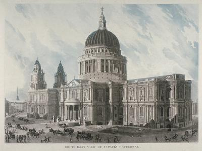 South-East View of St Paul's Cathedral with Figures and Carriages Outside, City of London, 1818-Daniel Havell-Giclee Print