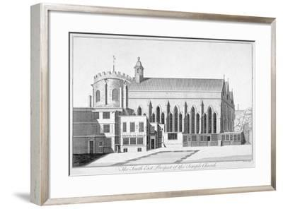 South-East View of Temple Church, City of London, 1737-Benjamin Cole-Framed Giclee Print