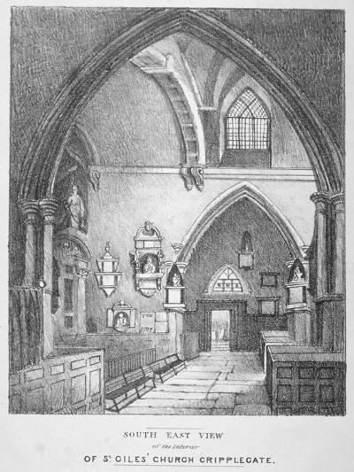 South-East View of the Interior of the Church of St Giles Without Cripplegate, City of London, 1825--Giclee Print