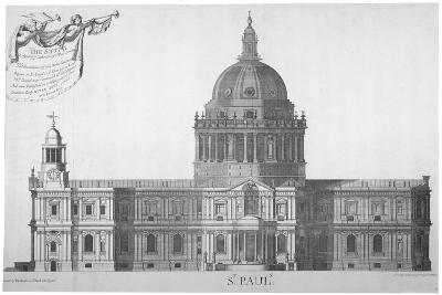 South Elevation of St Paul's Cathedral, City of London, 1702-William Emmett-Giclee Print