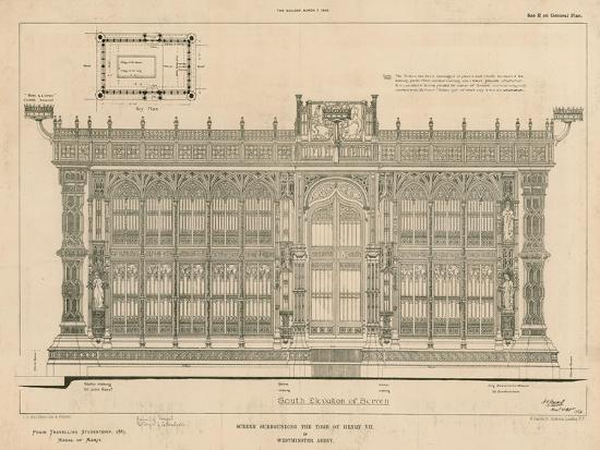 South Elevation of the Screen Surrounding the Tomb of King Henry Vii--Giclee Print