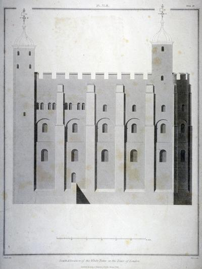 South Elevation of the White Tower, Tower of London, 1815-James Basire II-Giclee Print
