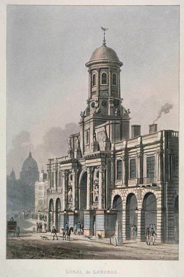 South Front of the Royal Exchange, City of London, 1821--Giclee Print