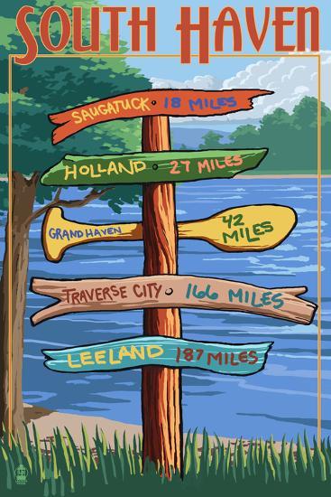 South Haven, Michigan - Sign Destinations-Lantern Press-Art Print