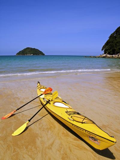 South Island, Nelson, Kayak on Onetahuti Beach in Abel Tasman National Park, New Zealand-Christian Kober-Photographic Print