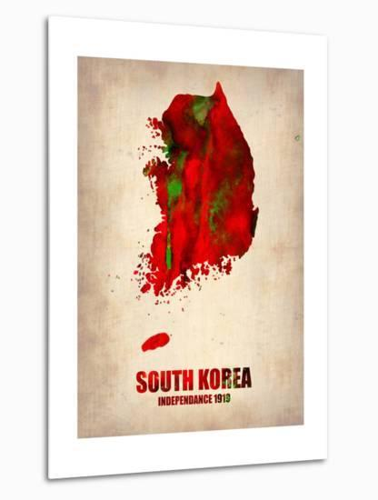 South Korea Watercolor Map-NaxArt-Metal Print