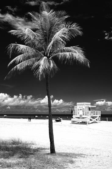 South Miami Beach Landscape with Life Guard Station - Florida - USA-Philippe Hugonnard-Photographic Print