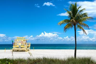 South Miami Beach Landscape with Life Guard Station - Florida-Philippe Hugonnard-Photographic Print
