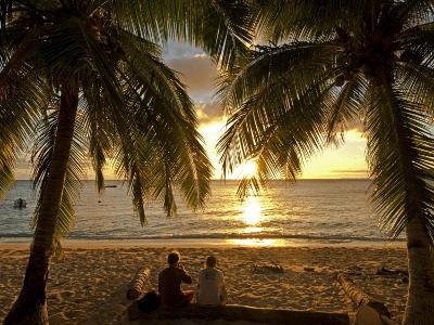 South Pacific, Fiji, Kadavu, Conservation Volunteers Watching the Sunset-Paul Harris-Photographic Print