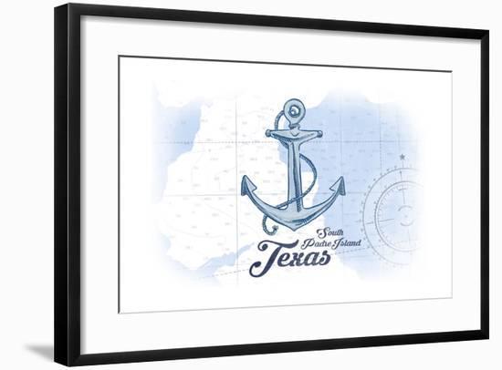 South Padre Island, Texas - Anchor - Blue - Coastal Icon-Lantern Press-Framed Art Print
