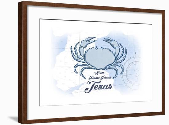 South Padre Island, Texas - Crab - Blue - Coastal Icon-Lantern Press-Framed Art Print