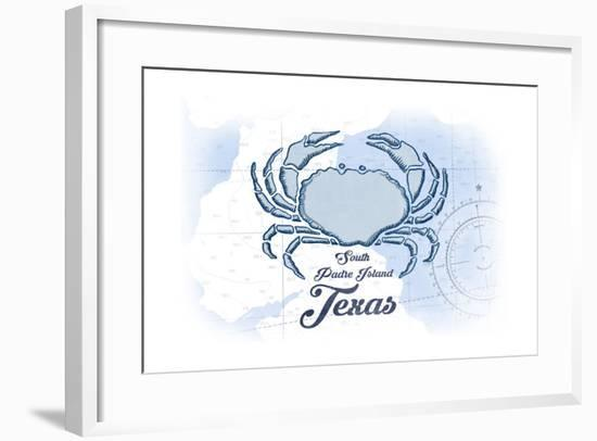 South Padre Island, Texas - Crab - Blue - Coastal Icon-Lantern Press-Framed Art Print