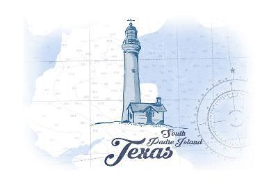 South Padre Island, Texas - Lighthouse - Blue - Coastal Icon-Lantern Press-Art Print
