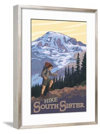 South Sister, Oregon - Hiking Scene-Lantern Press-Framed Art Print