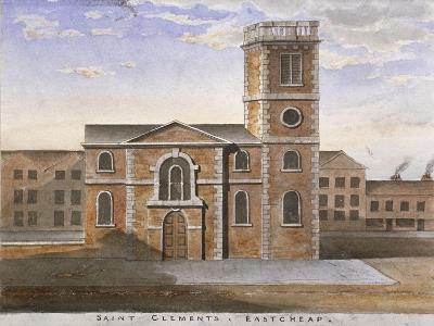 South View of the Church of St Clement, Eastcheap, City of London, 1820--Giclee Print