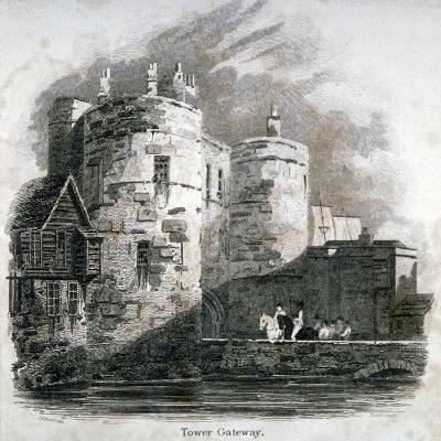 South View of the Tower of London with Figures on Horseback, C1810-Robert Sands-Giclee Print
