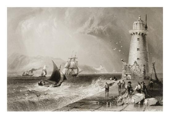 South Wall Lighthouse with Howth Hill in the Distance, Dublin-William Henry Bartlett-Giclee Print