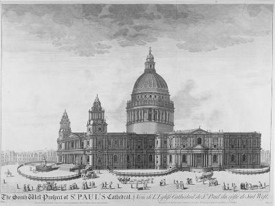 South-West View of St Paul's Cathedral, City of London, 1750--Giclee Print