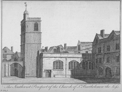 South-West View of the Church of St Bartholomew-The-Less, City of London, 1750-Benjamin Cole-Giclee Print