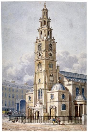 South-West View of the Church of St Clement Danes, Westminster, London, 1814-Thomas Hosmer Shepherd-Giclee Print