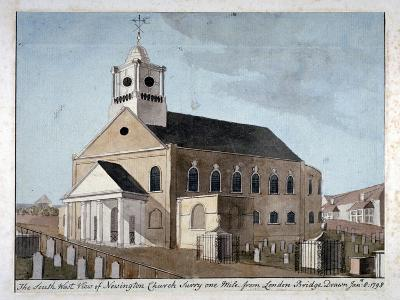 South-West View of the Church of St Mary Newington, Newington Butts, Southwark, London, 1798--Giclee Print
