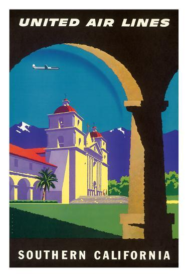 Southern California - Spanish Mission - United Air Lines-Joseph Binder-Giclee Print