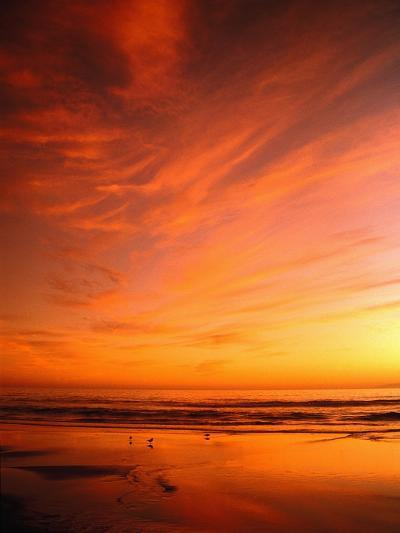 Southern California Sunset at Beach-Mick Roessler-Photographic Print