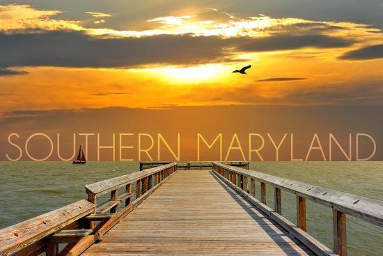 Southern Maryland - Pier at Sunset-Lantern Press-Wall Mural